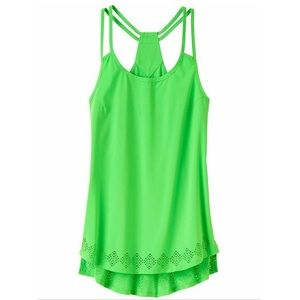 Athleta Laser Cut Go Time Tank Toucan Green